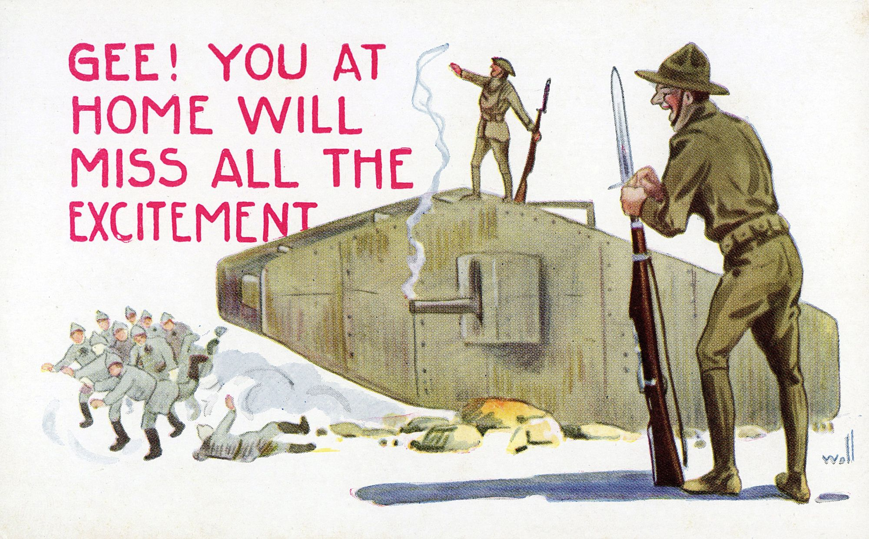 Carte postale satirique américaine, 1918