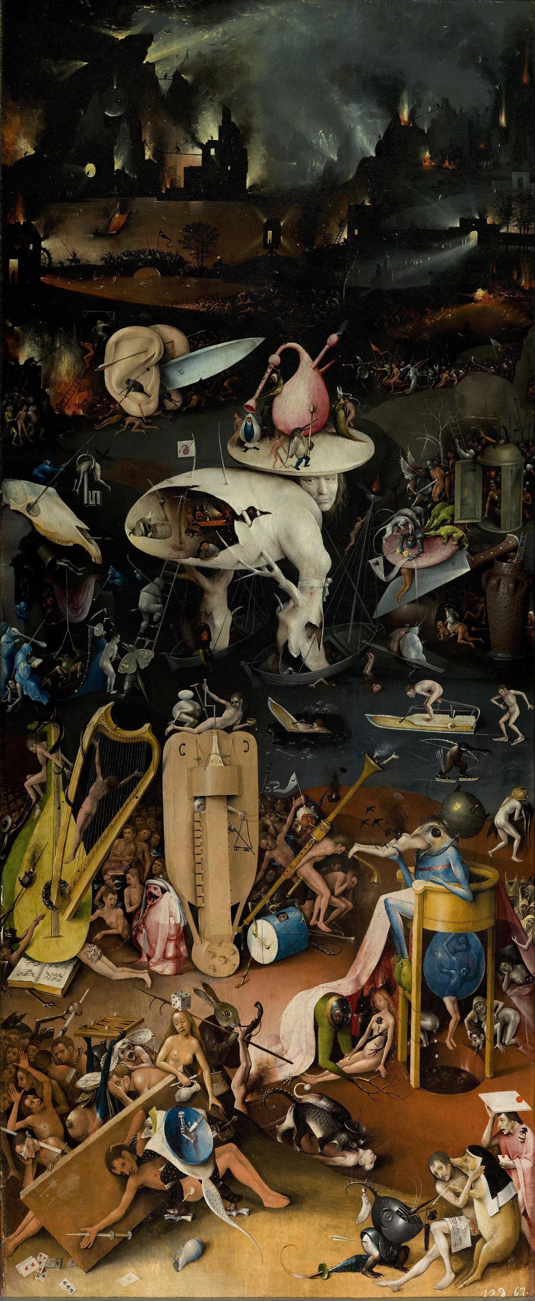 Jérôme Bosch, panneau de droite du triptyque, Le Jardin des délices, 1480-1505