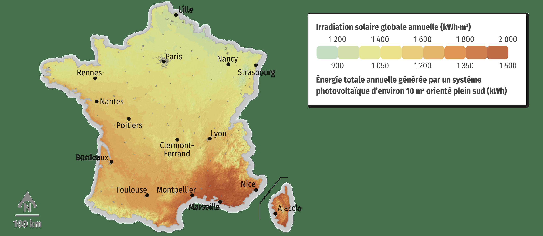 Irradiation solaire et potentiel solaire électrique en France
