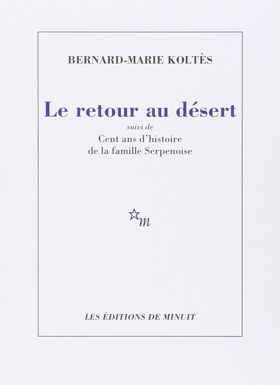 Le Retour au Desert de BM. Koltès, couverture