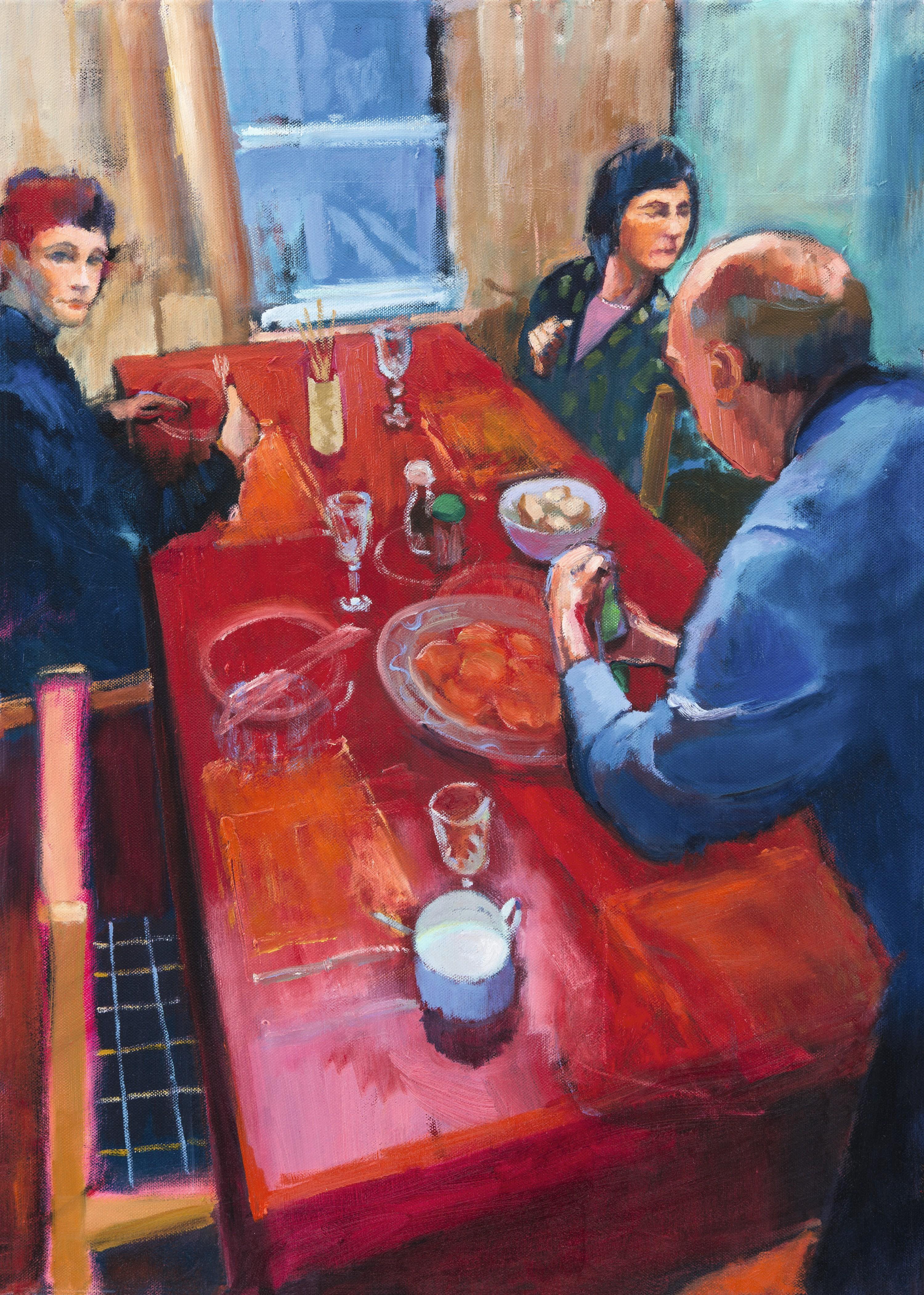 Marco Cazzulini, Le souper, 2013, huile sur toile, 70× 50 cm, coll. privée.