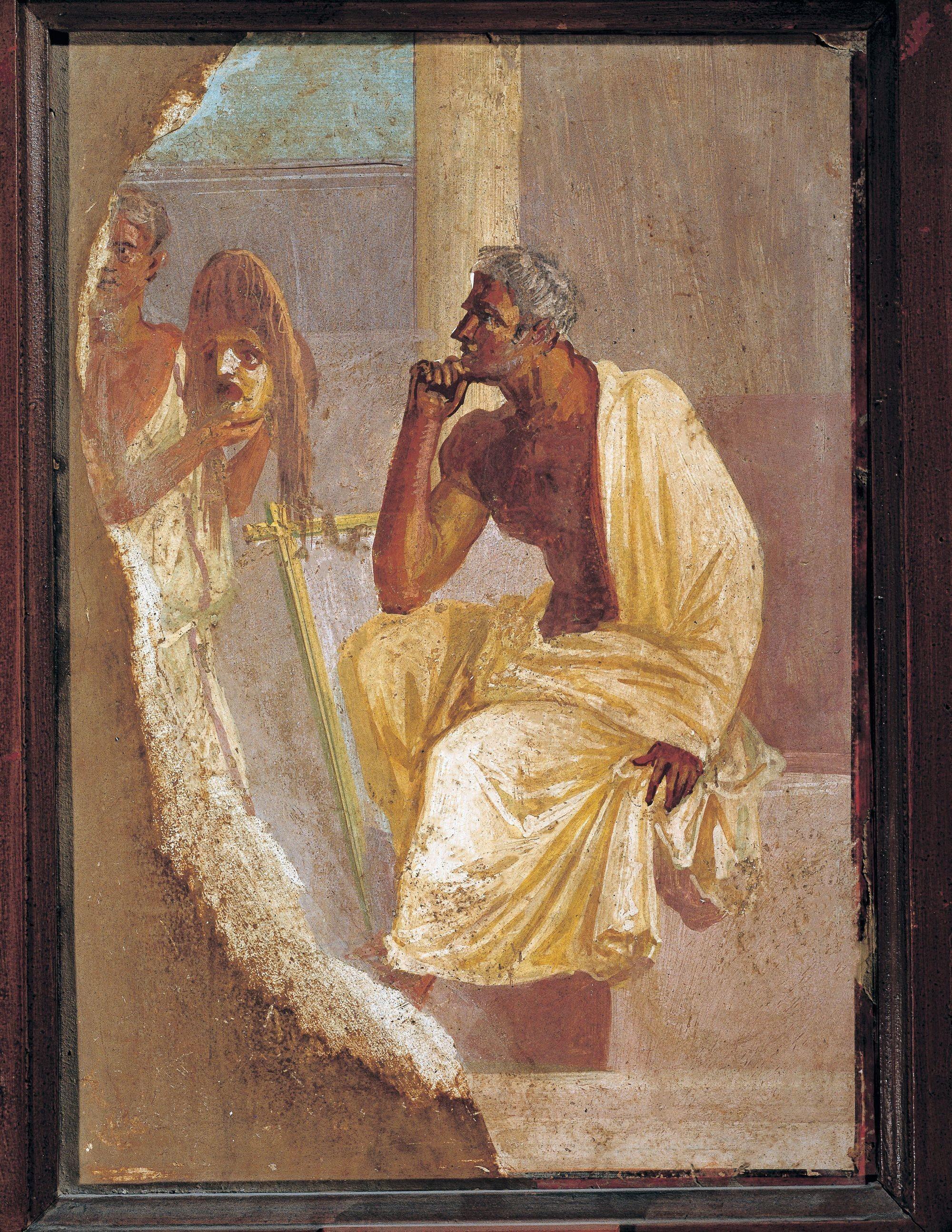 Un acteur et un masque tragique, fresque de Pompéi, Musée archéologique national, Naples.