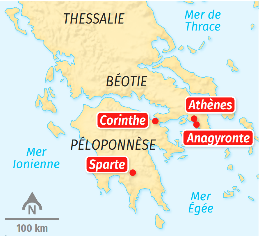 Carte des cités grecques au Ve siècle av. J.-C.