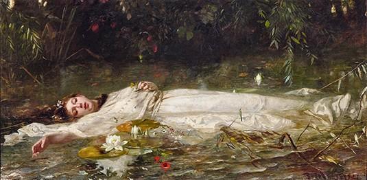 Friedrich Heyser, Ophélie, avant 1921, huile sur toile, 90 × 180 cm, coll. privée.