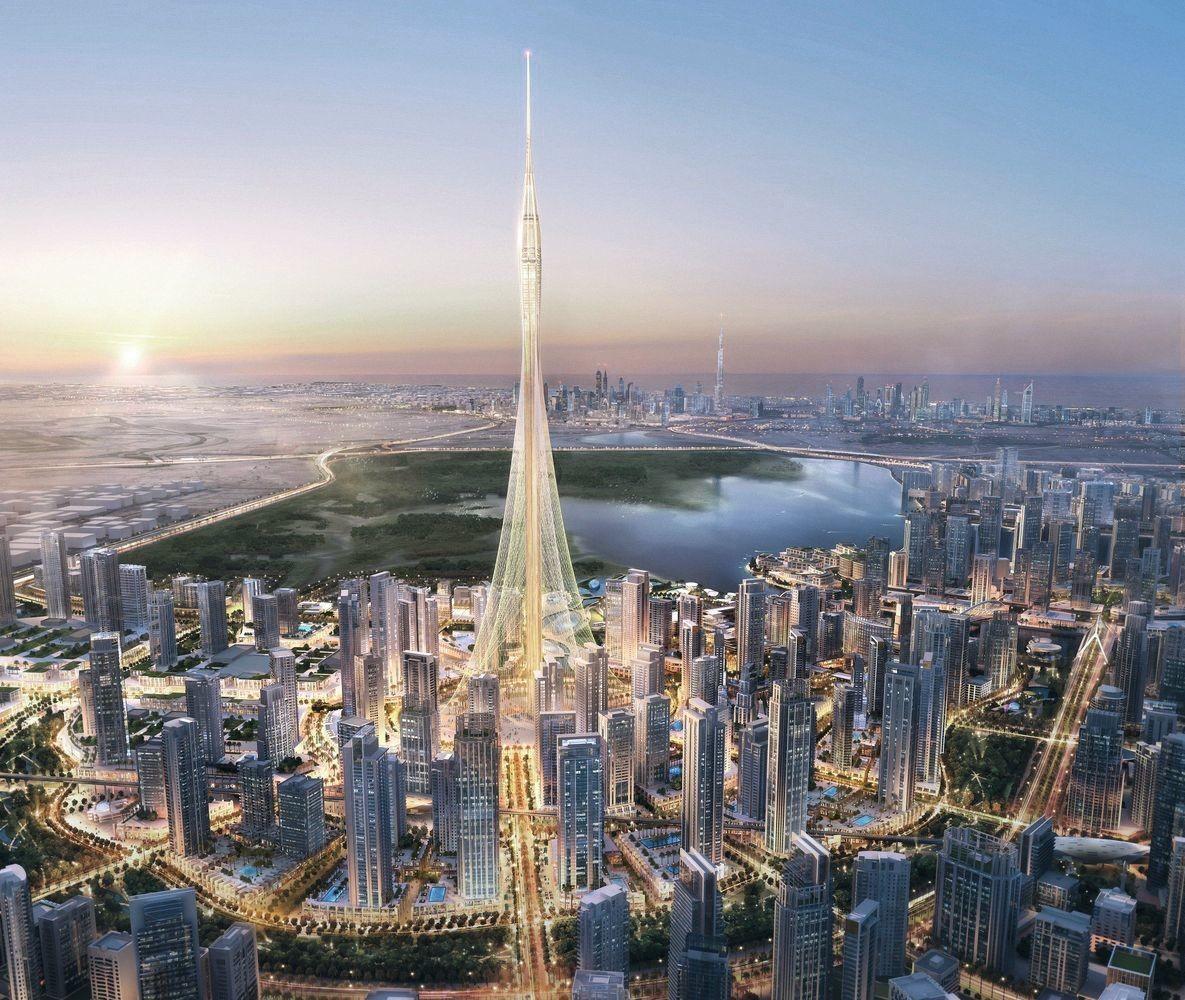 La Dubai Creek Tower, une tour en construction à la taille encore inconnue.