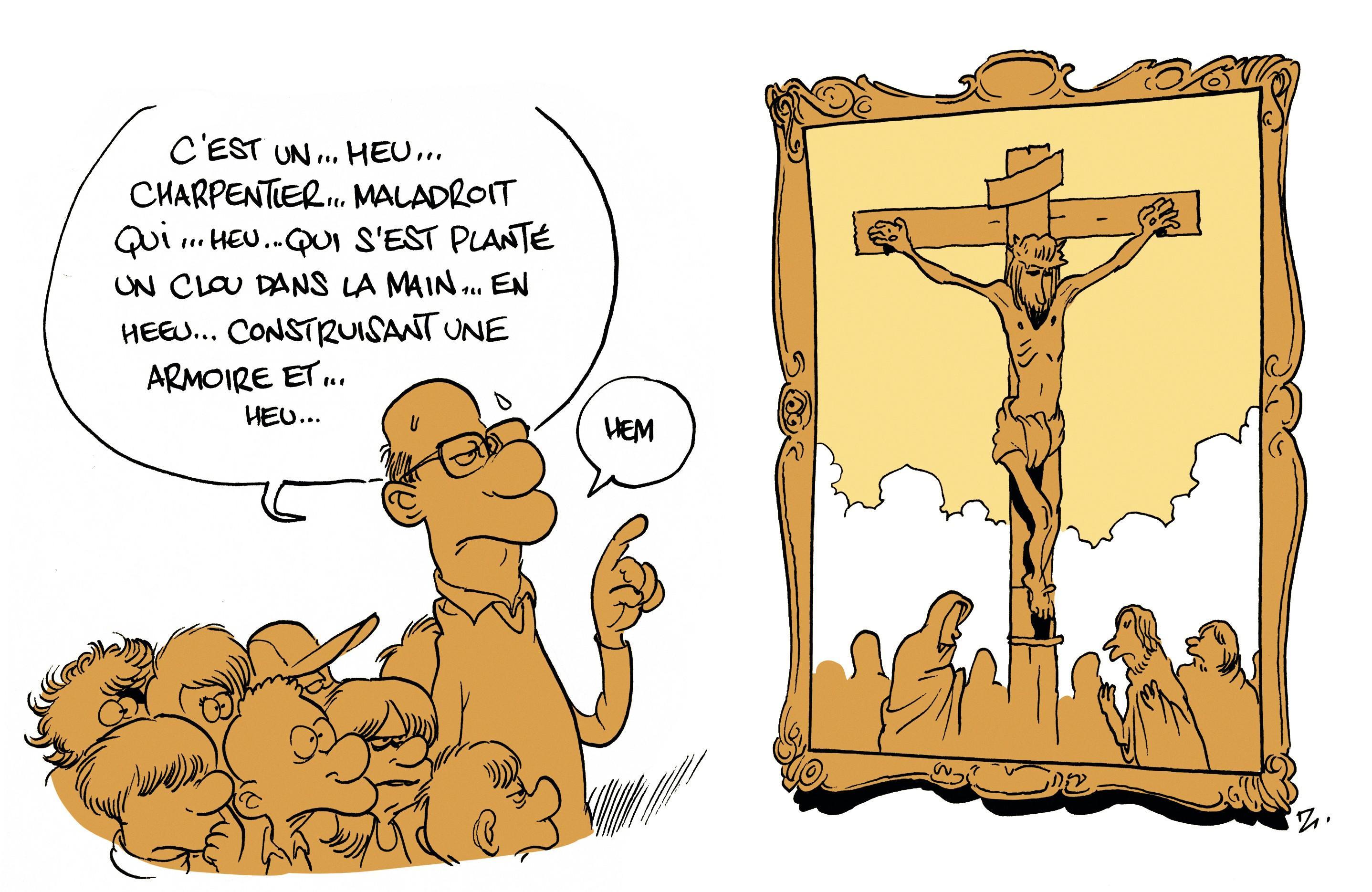 Caricature de Zep pour la brochure « La laïcité à l'école » éditée par le canton de Genève et publiée en 2016.