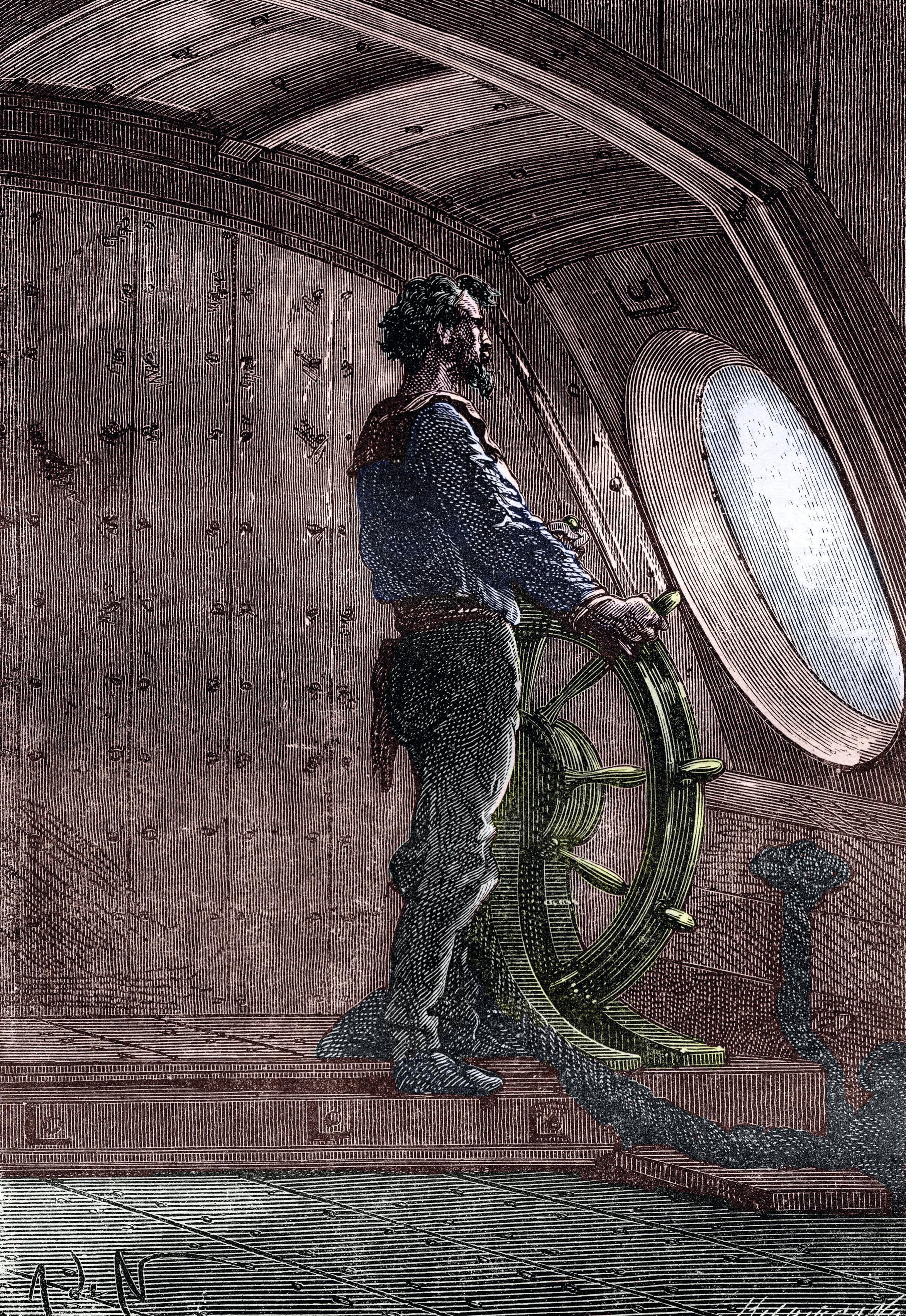 Gravure représentant le capitaine Nemo à la barre du Nautilus, 1870, Éditions Hetzel.