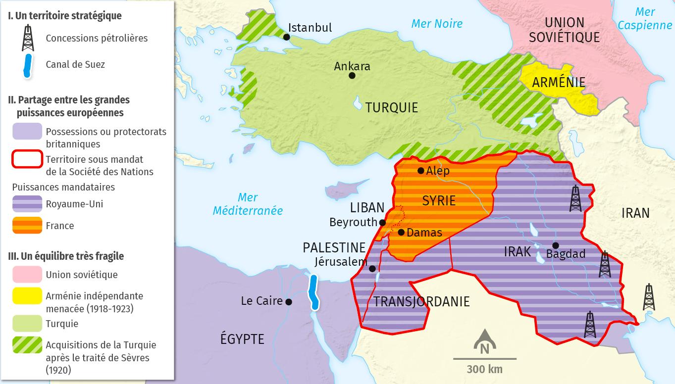 carte Les mandats européens au Proche et Moyen‑Orient (1923)