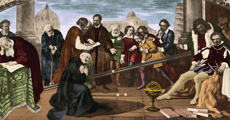 Représentation de l'expérience de Galilée sur la chute des poids de masses différentes