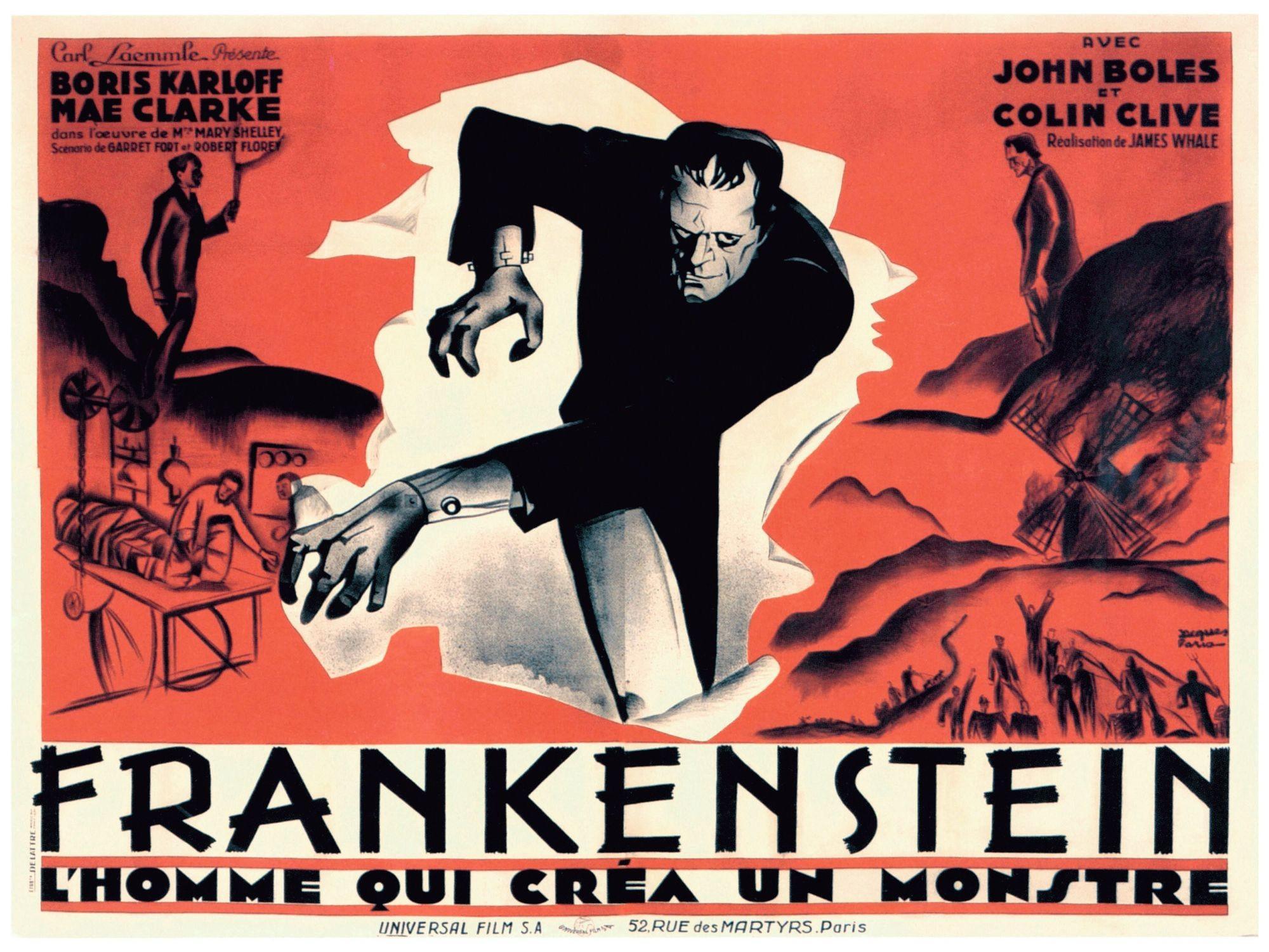 Affiche française du film Frankenstein, réalisé par James Whale avec Boris Karloff (le Monstre) et Colin Clive (Docteur Frankenstein), 1931.
