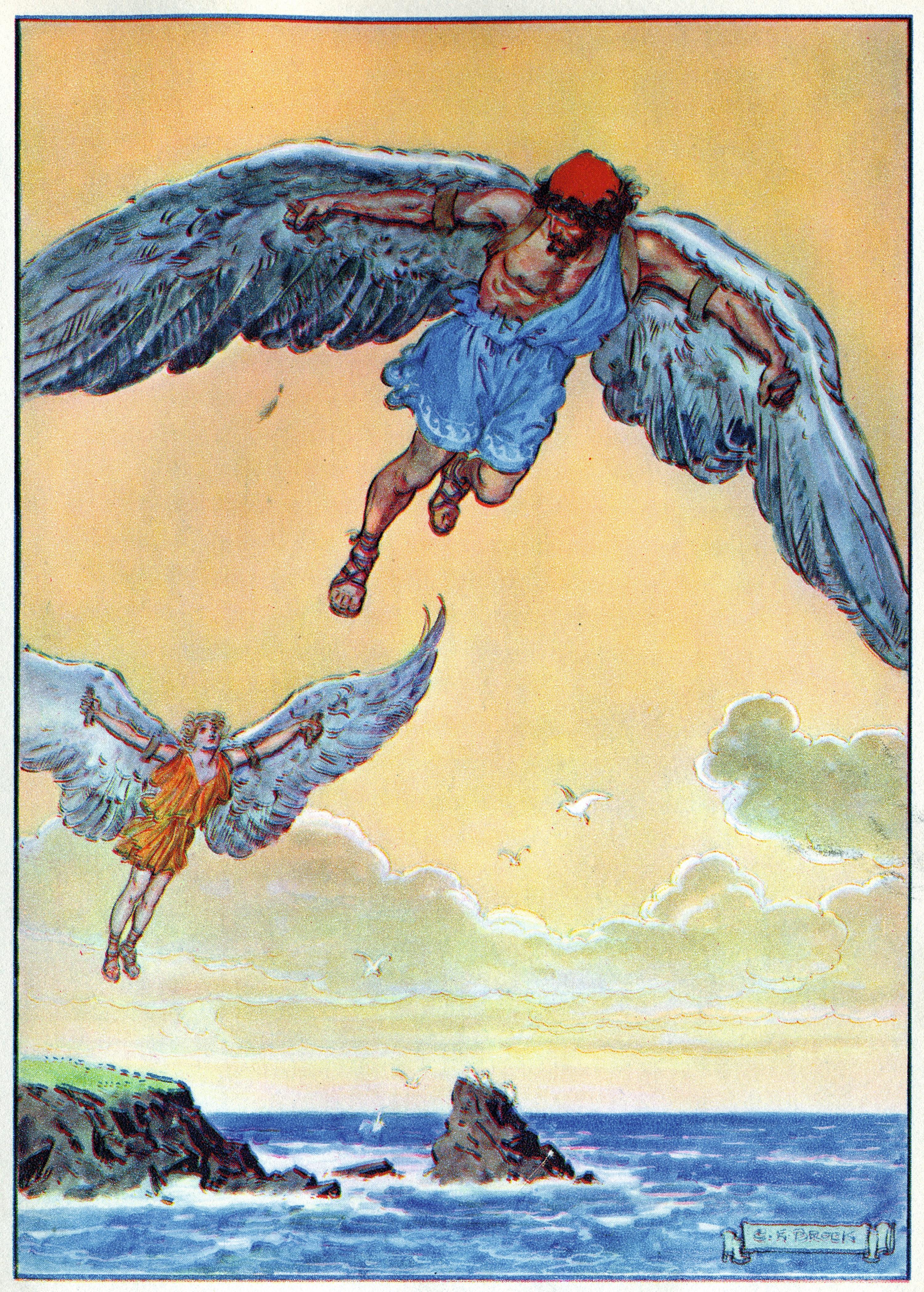 Charles Edmund Brock, Dédale et Icare, début du XXe siècle, lithographie, coll. privée.