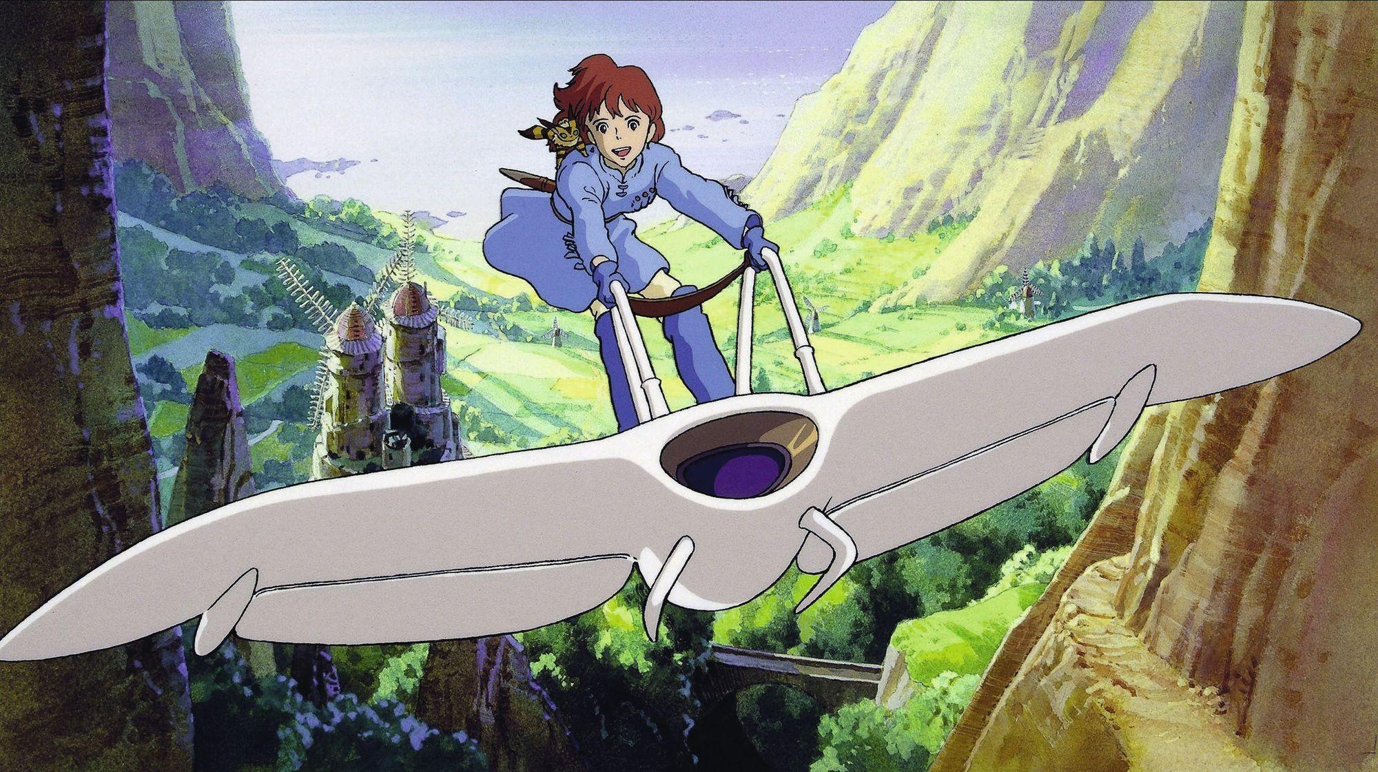 Nausicaä sur son « mehve », Nausicaä de la vallée du vent, film d'animation japonais réalisé par Hayao Miyazaki, 1984.