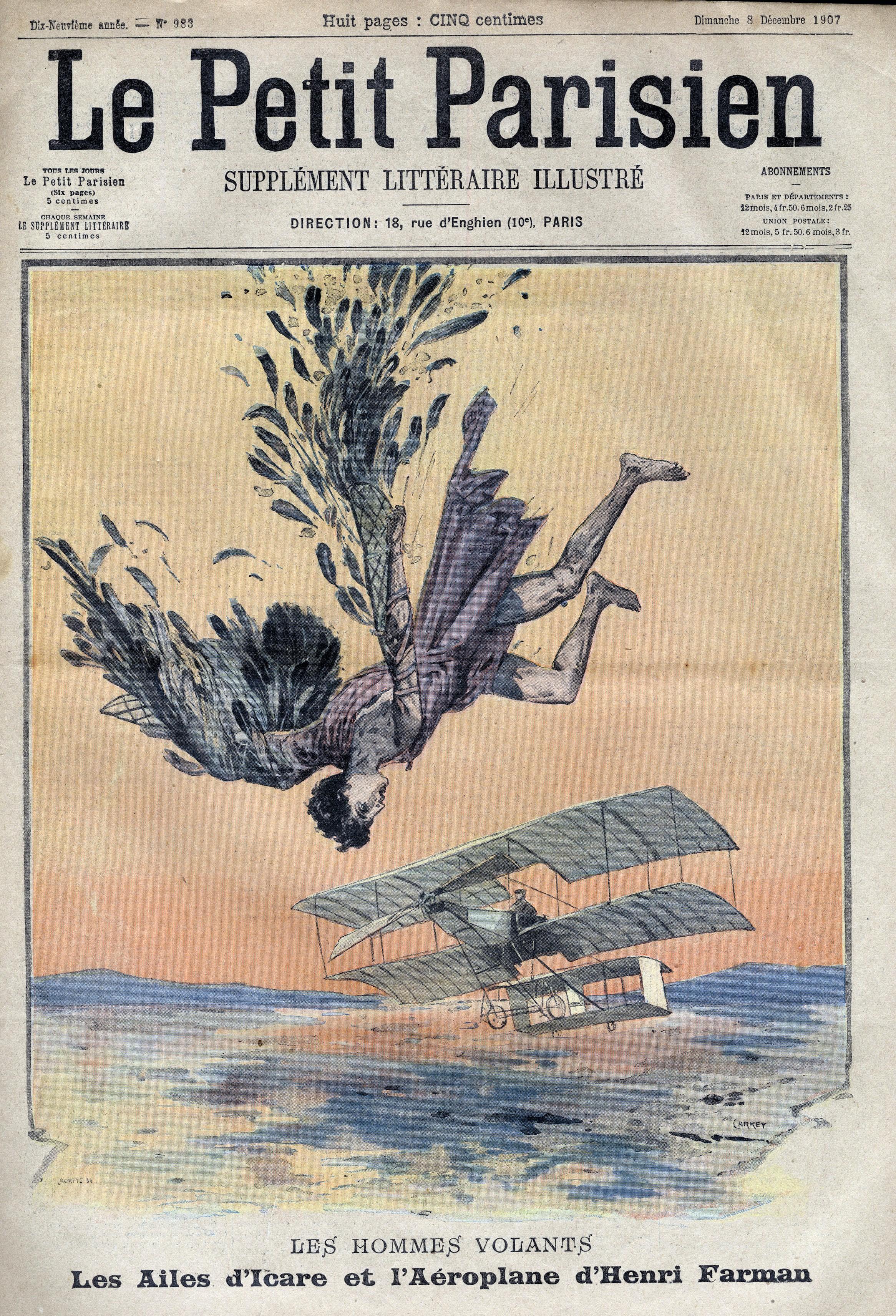« Les hommes volants. Les ailes d'Icare et l'aéroplane d'Henri Farman », Le Petit Parisien : supplément littéraire illustré, 24 novembre 1907.