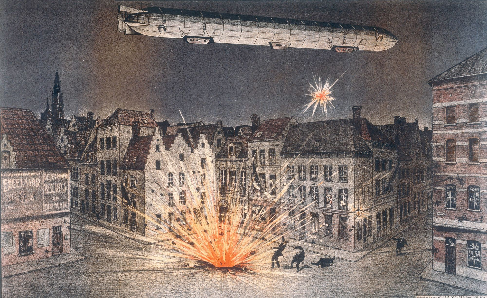 Willem Seghers, Bombardement d'Anvers, 1914, lithographie, 42 x 62 cm, Imperial War Museum, Londres.