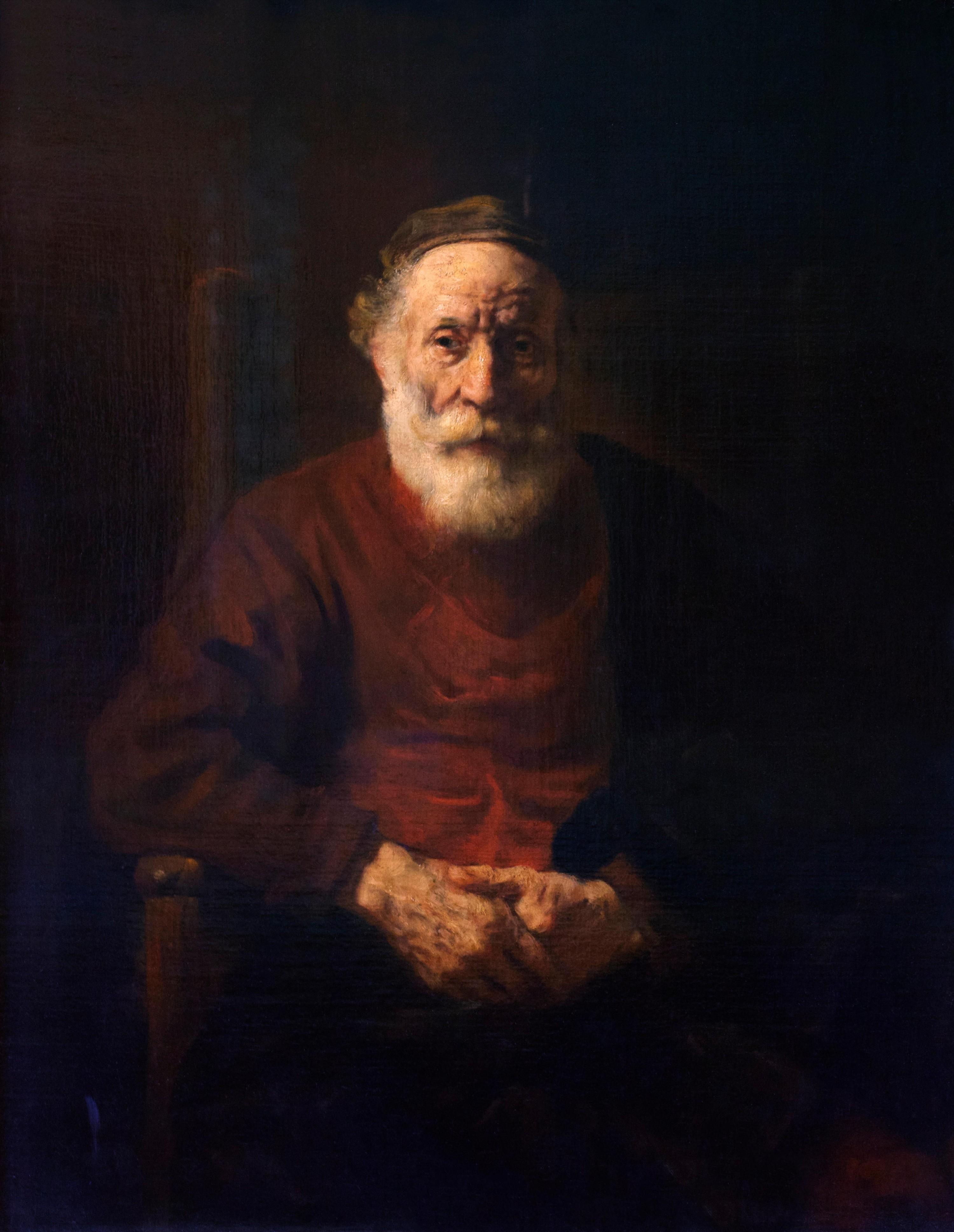 Rembrandt van Rijn, Portrait d'un vieil homme en rouge, 1652-1654, huile sur toile, 108 ×86 cm, musée de l'Ermitage, Saint-Pétersbourg, Russie.