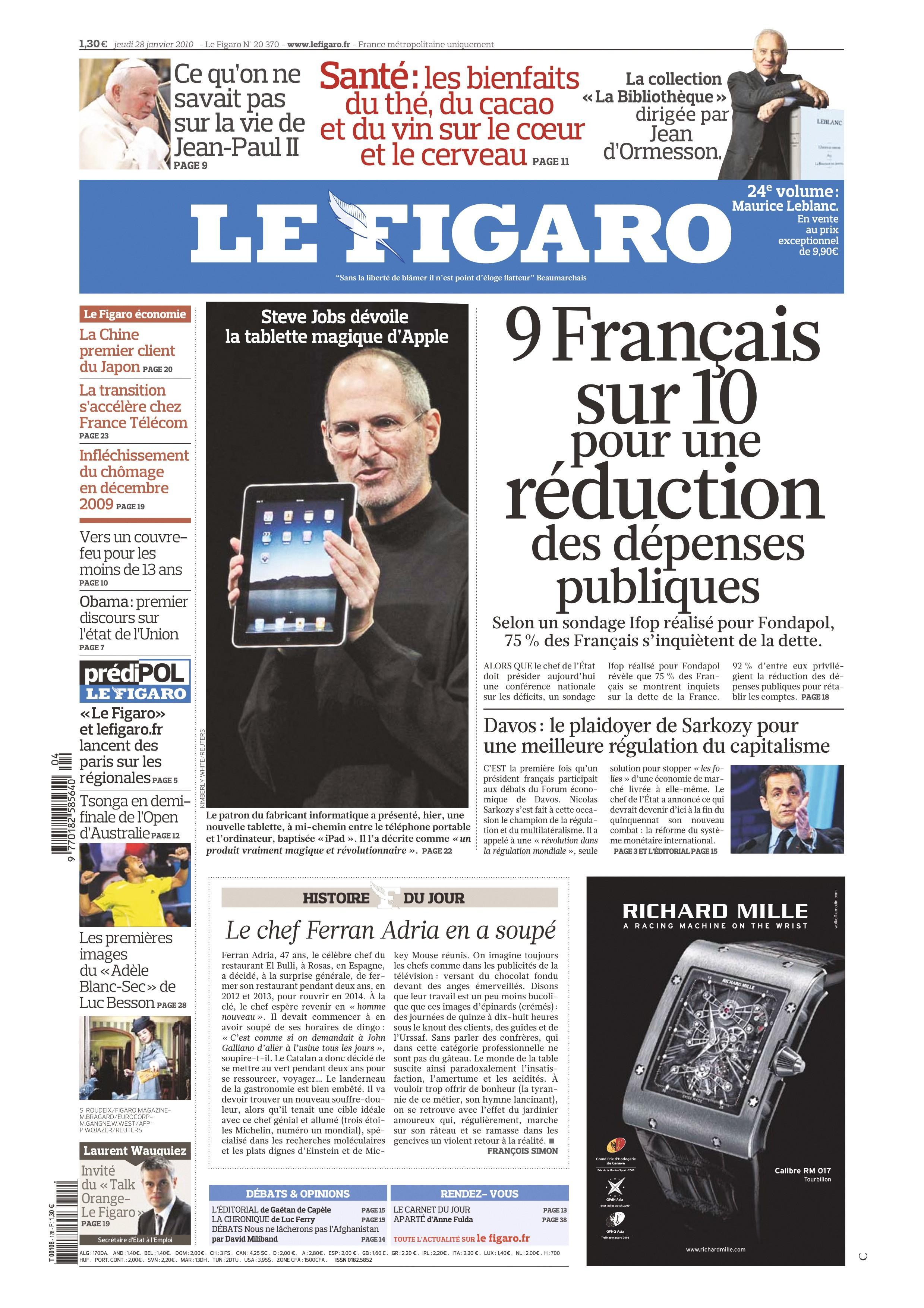 Une du journal Le Figaro du 28 janvier 2010.