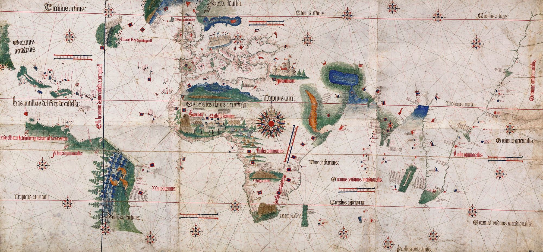 Cartographe portugais anonyme, Planisphère Cantino, 1502, Bibliothèque universitaire Estense, Modène, Italie.