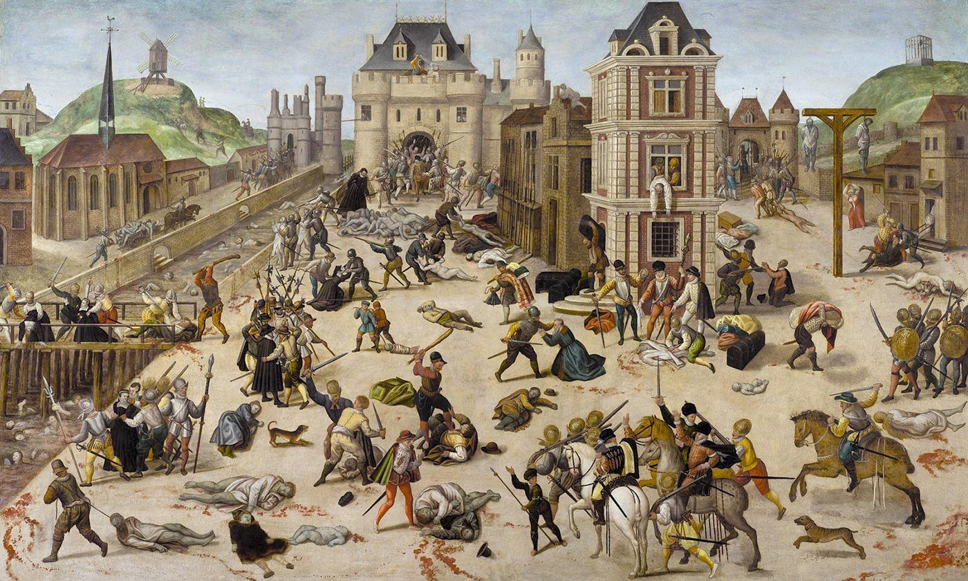 François Dubois, Massacre de la Saint‑Barthélemy, 1572‑1584, huile sur bois, 94 × 154 cm, musée cantonnal des Beaux-Arts, Lausanne, Suisse.