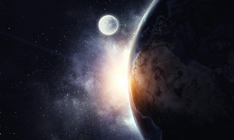 Lune tourne autour d'une planète