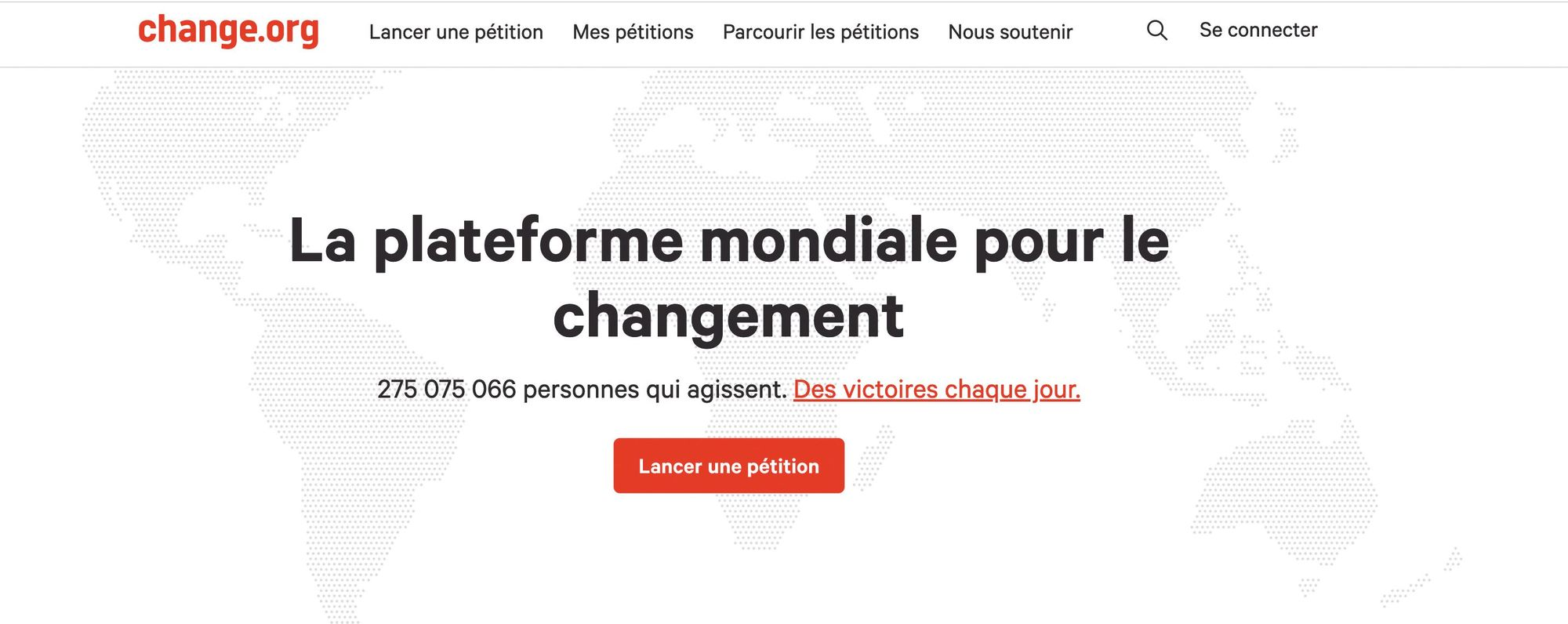 Capture d'écran du site Change.org, qui propose de créer des pétitions visibles dans le monde entier