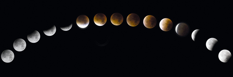Apparence de la Lune à différents instants d'une éclipse