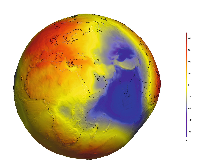 Représentation de l'inégale répartition des masses de la Terre