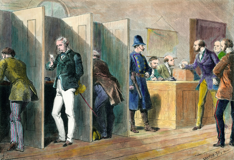 Intérieur d'un bureau de vote lors des élections en Angleterre avec représentation des isoloirs, gravure du XIXe siècle.