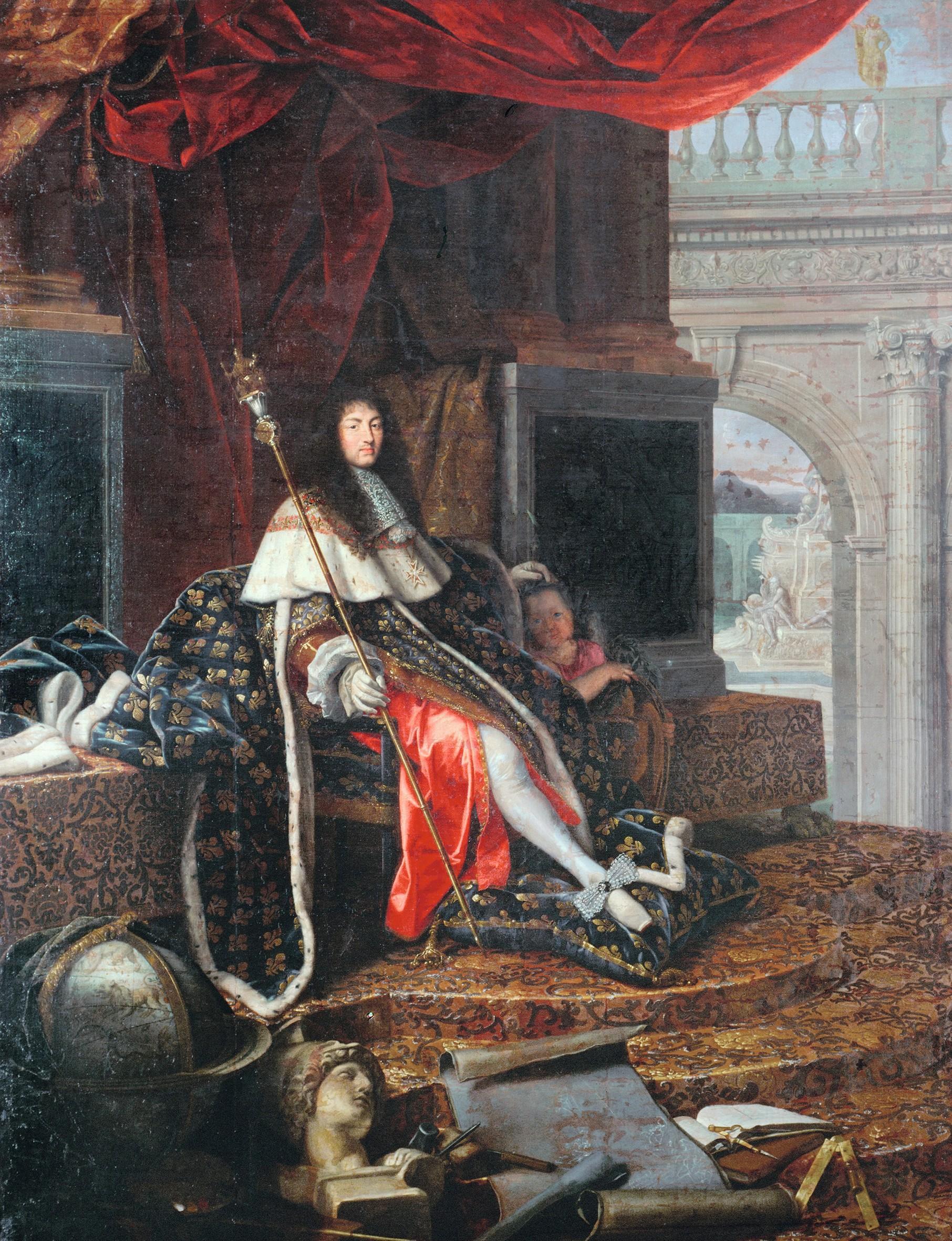 Henri Testelin, Louis XIV protecteur de l'Académie royale de peinture et de sculpture, 1668, huile sur toile, 390 × 290 cm, château de Versailles.
