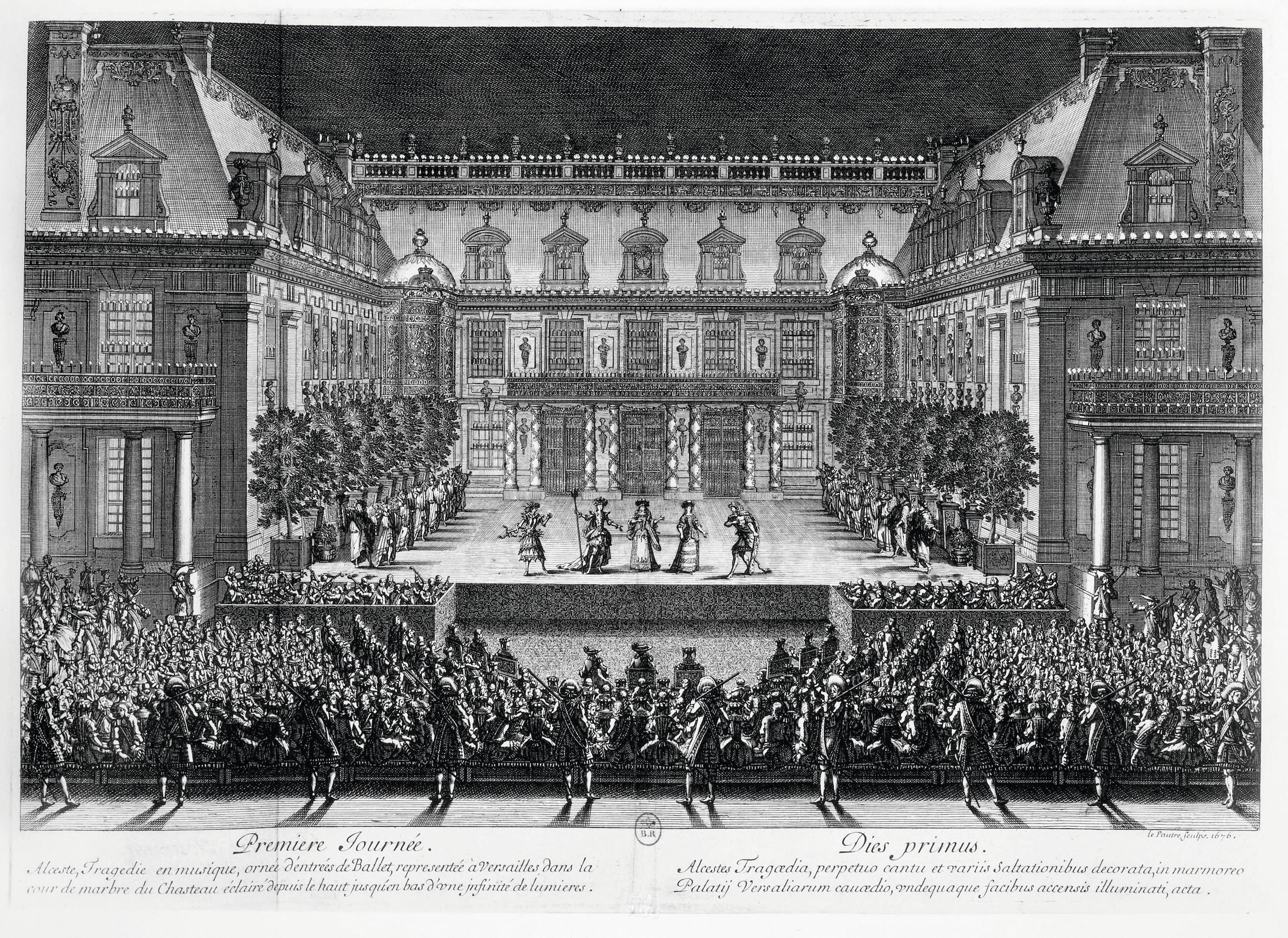 Jean Lepautre, représentation d'Alceste de Lully-Quinault, Versailles, fête de 1674, BnF, Paris.