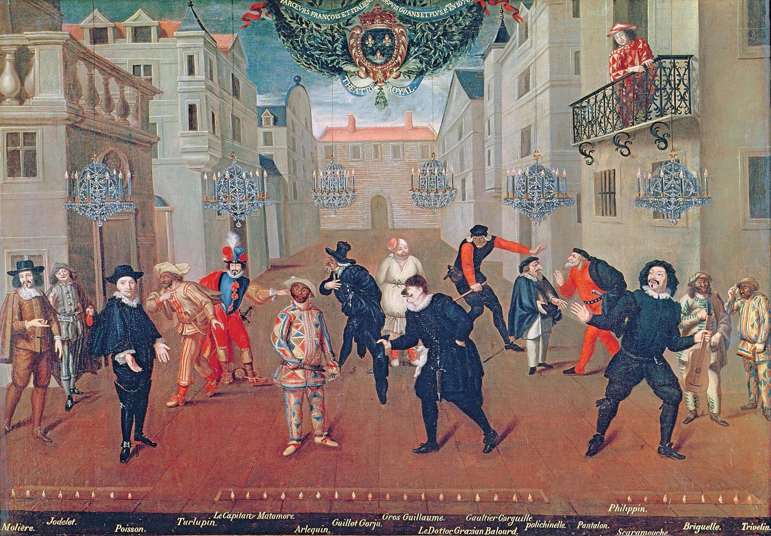 Verio, Farceurs français et italiens 1670, huile sur toile, 96×138 cm, Comédie-Française, Paris.
