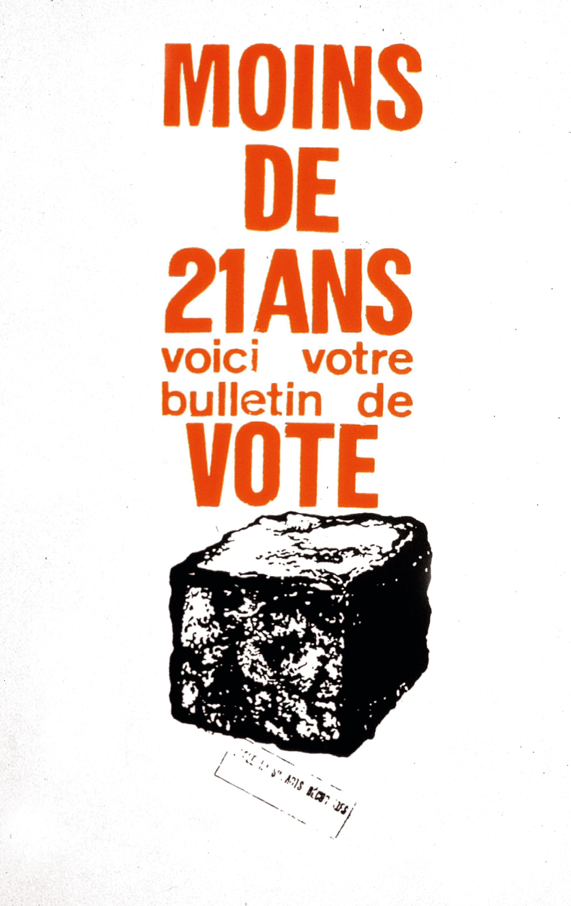 Affiche de Mai 68 appelant à la révolte les moins de vingt-et-un ans, qui n'avaient pas le droit de vote.