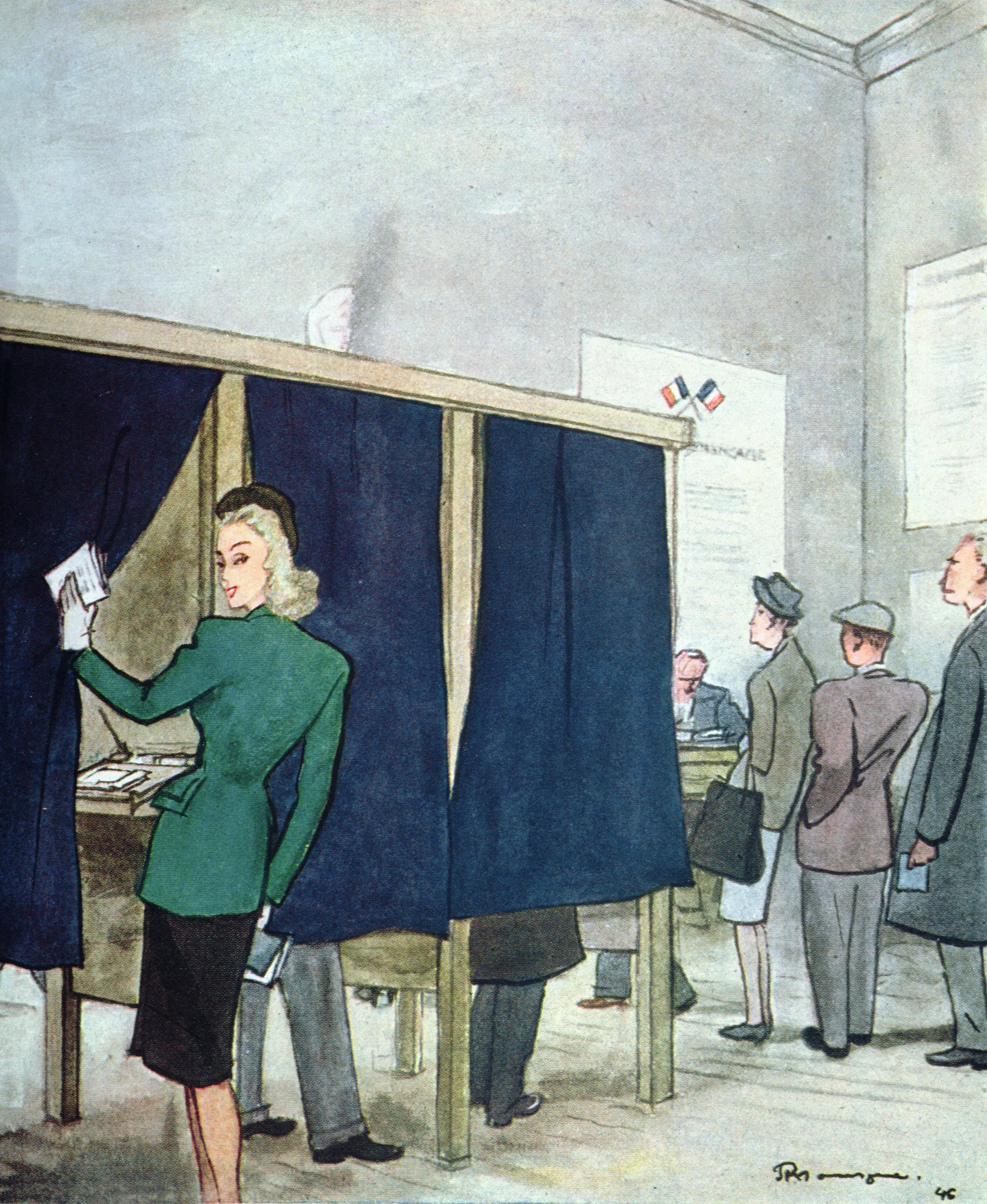 Le premier vote des femmes, Pierre Mourgue, 1946.