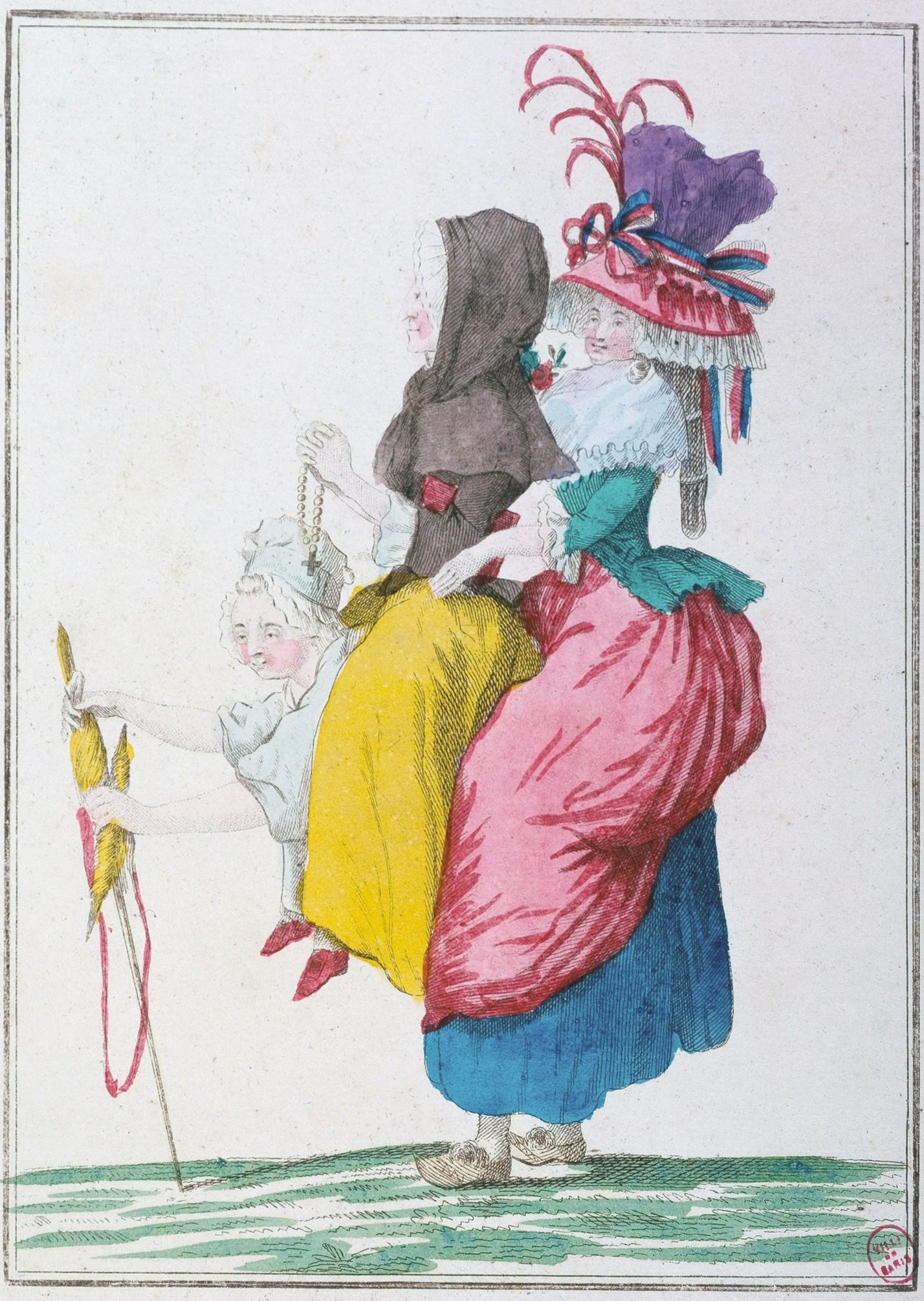 Anonyme, Caricature sur les trois ordres en femmes : le tiers état portant sur son dos le Clergé et la Noblesse, 1789, estampe coloriée, musée Carnavalet, Paris.