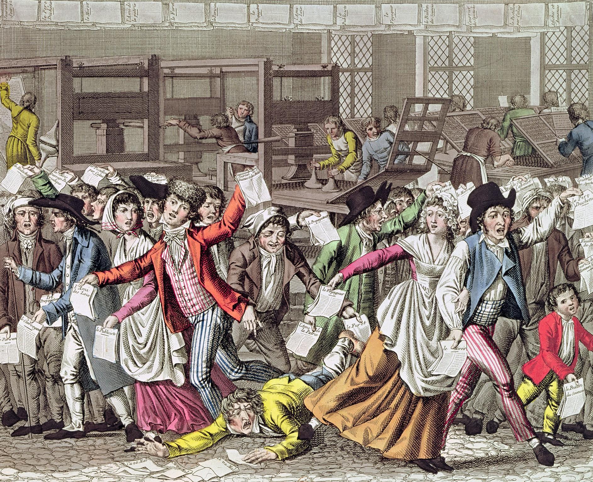 Anonyme, La Liberté de la presse sous la Révolution française, gravure coloriée, 1797, BnF, Paris.