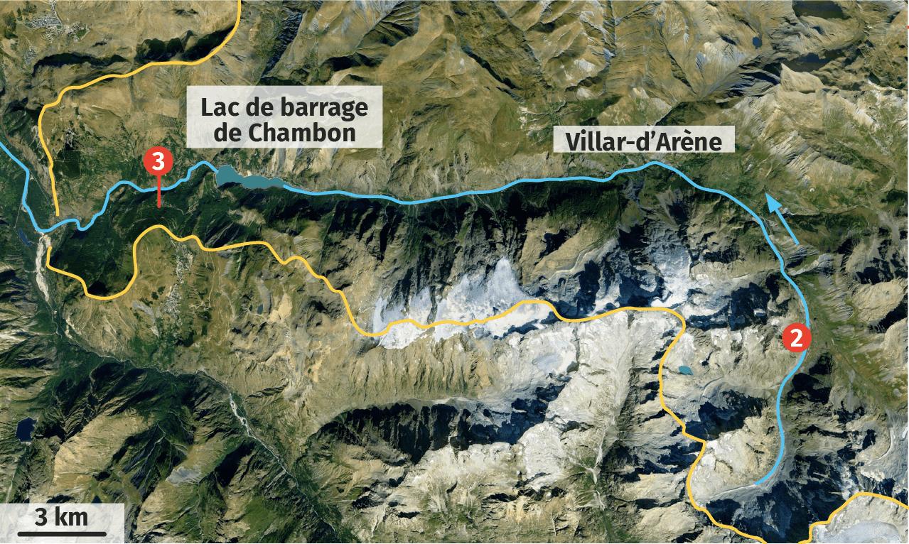 Vue satellite du bassin versant de la Romanche dans les Alpes du Nord.