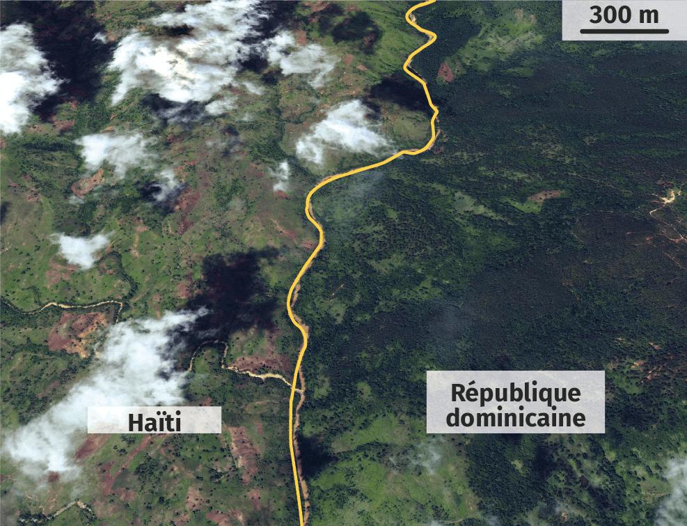 Vue satellite de la frontière (en jaune) entre Haïti et la République dominicaine après des intempéries.