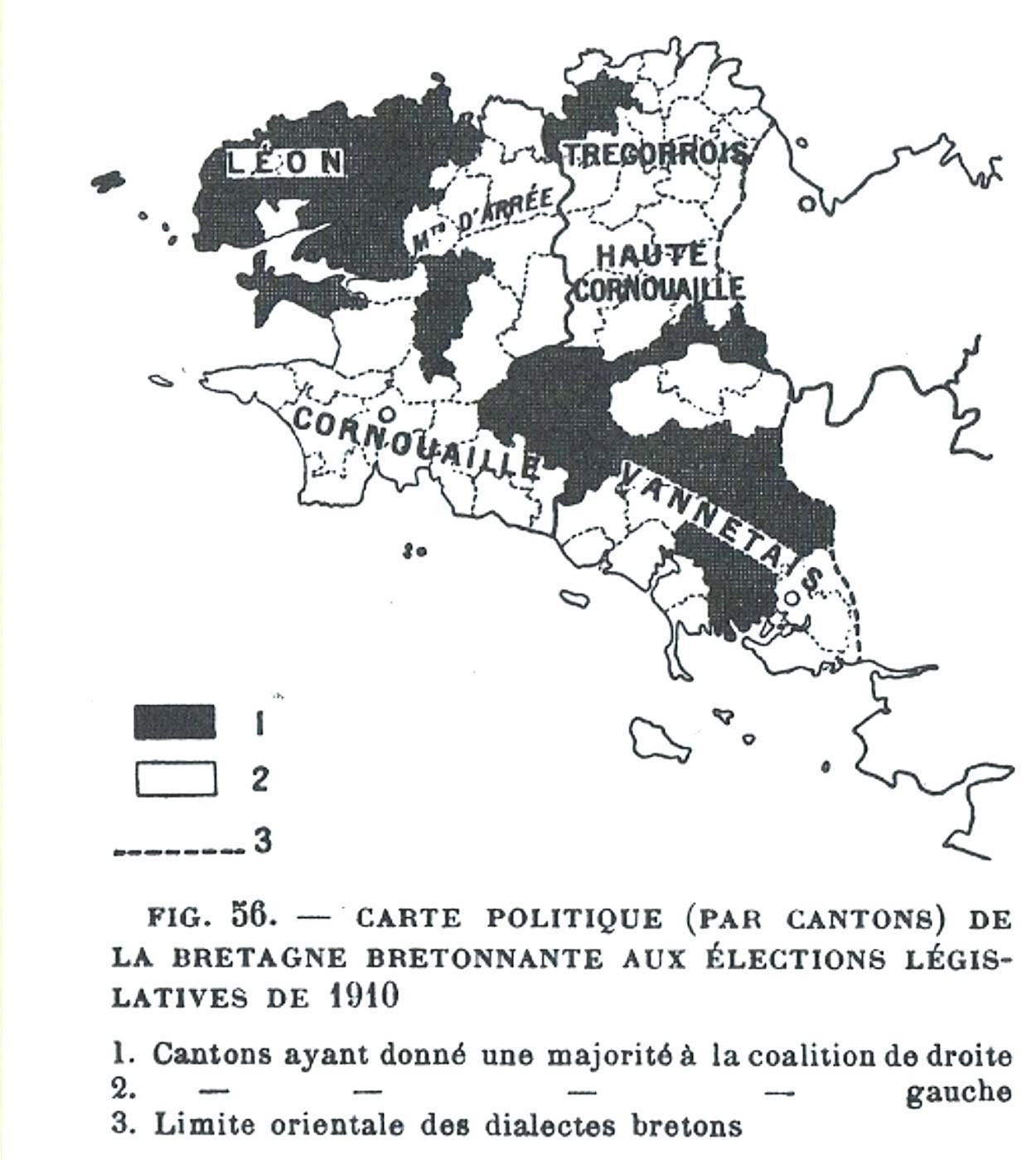 Une carte du livre de Siegfried qui montre le clivage géographique du vote.