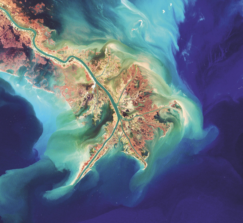 Vue satellite du delta du Mississippi en Louisiane.