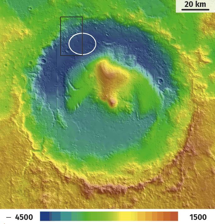 Carte topographique colorisée du cratère Gale sur Mars.