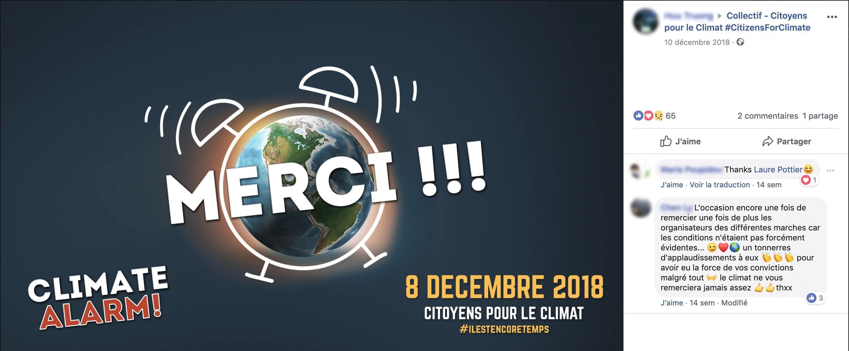 Page Facebook du collectif Citoyens pour le climat