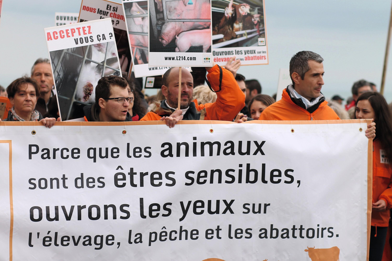 Le 4 avril 2015, des militants de l'association L214 protestent contre la construction d'une ferme‑usine à Poiroux