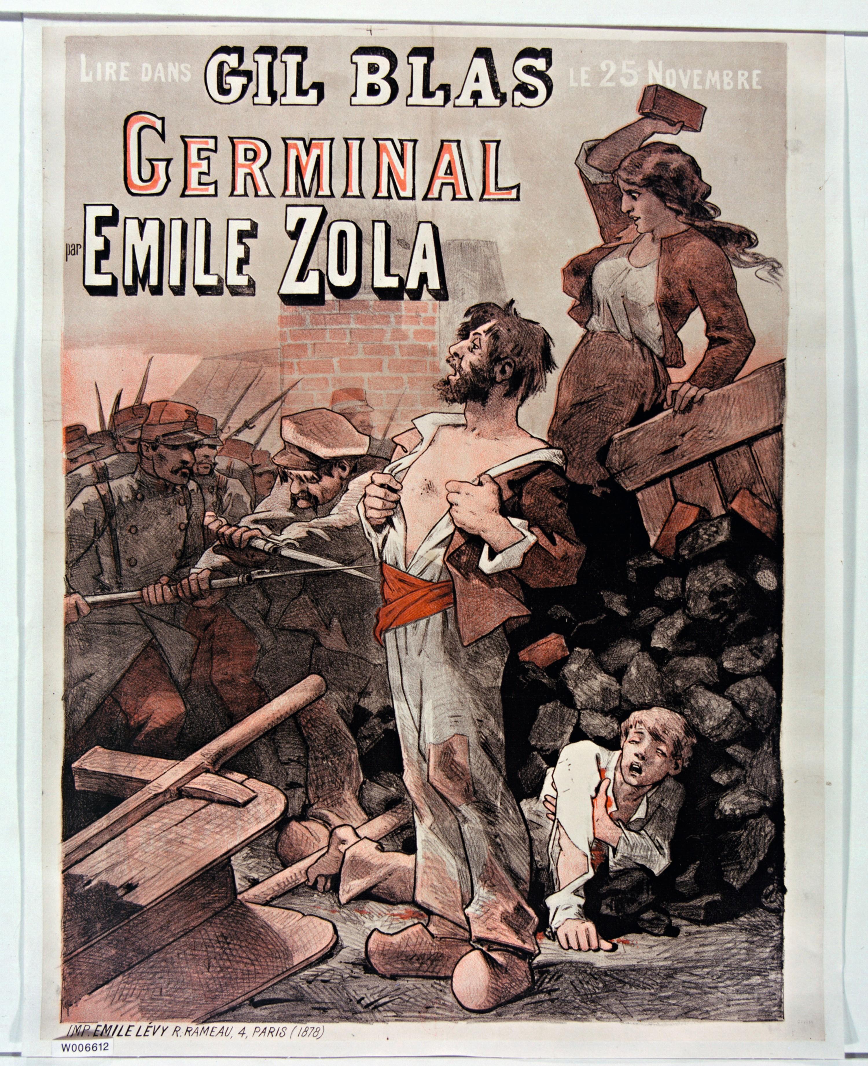 Affiche de Germinal d'Émile Zola, journal Gil Blas, BnF, Paris.