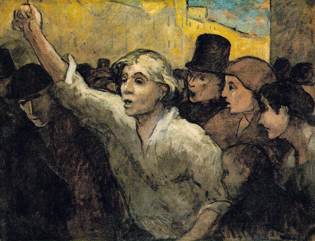 Honoré Daumier, L'Émeute, vers 1848, huile sur toile, 87 × 113 cm, collection Philips, Washington.