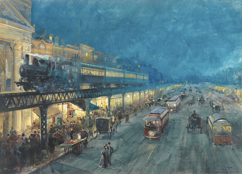 William Sonntag, Le Bowery de nuit, 1895, aquarelle, 44 × 33 cm, Museum of the City of New York.