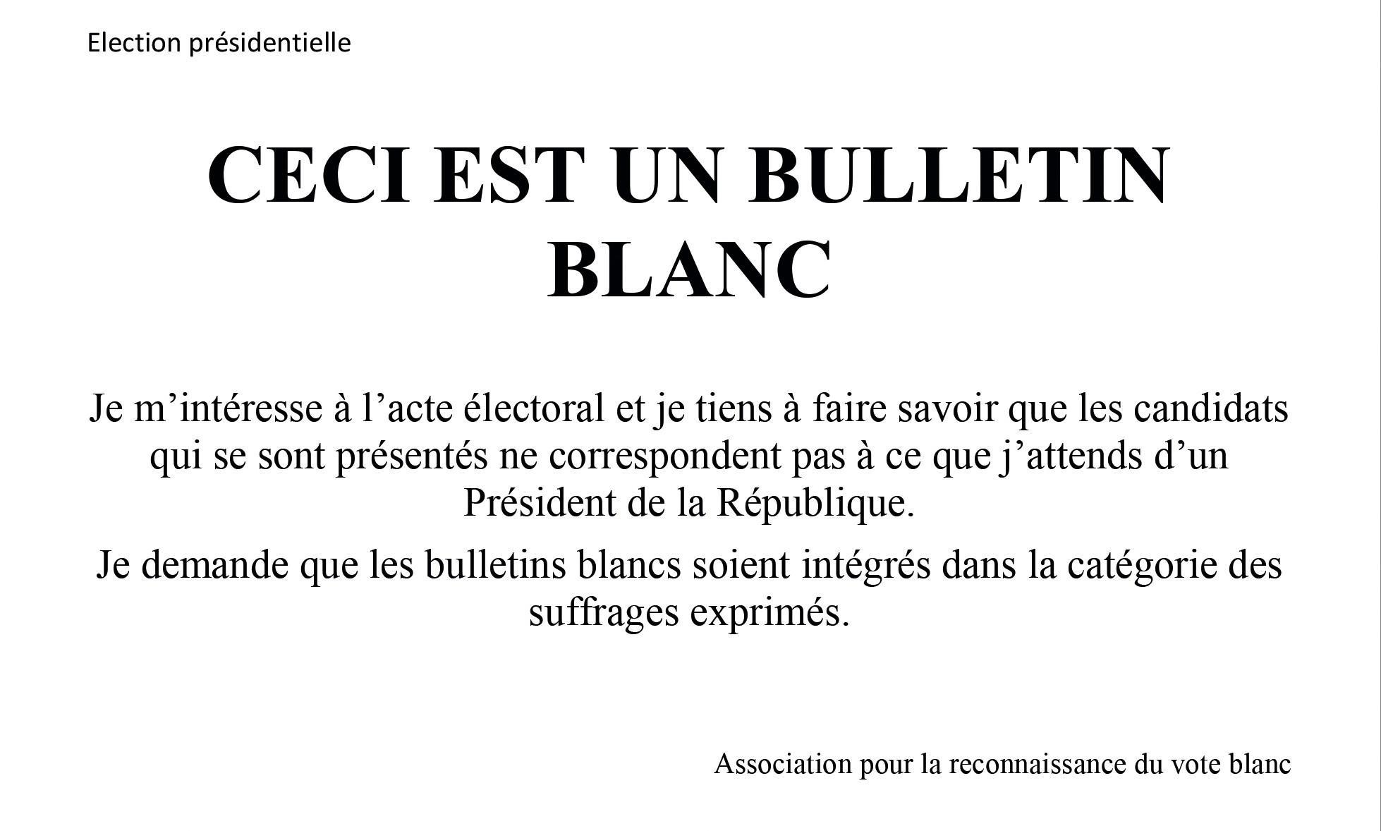 Bulletin de vote élaboré par l'Association pour la reconnaissance du vote blanc.