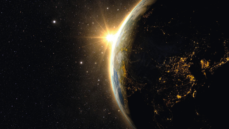 Un lever de Soleil depuis l'espace