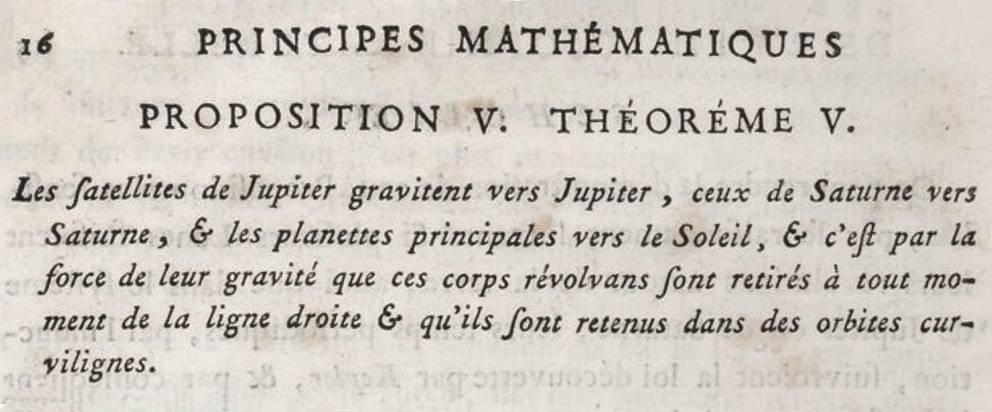 Extrait de Principes mathématiques de la philosophie naturelle