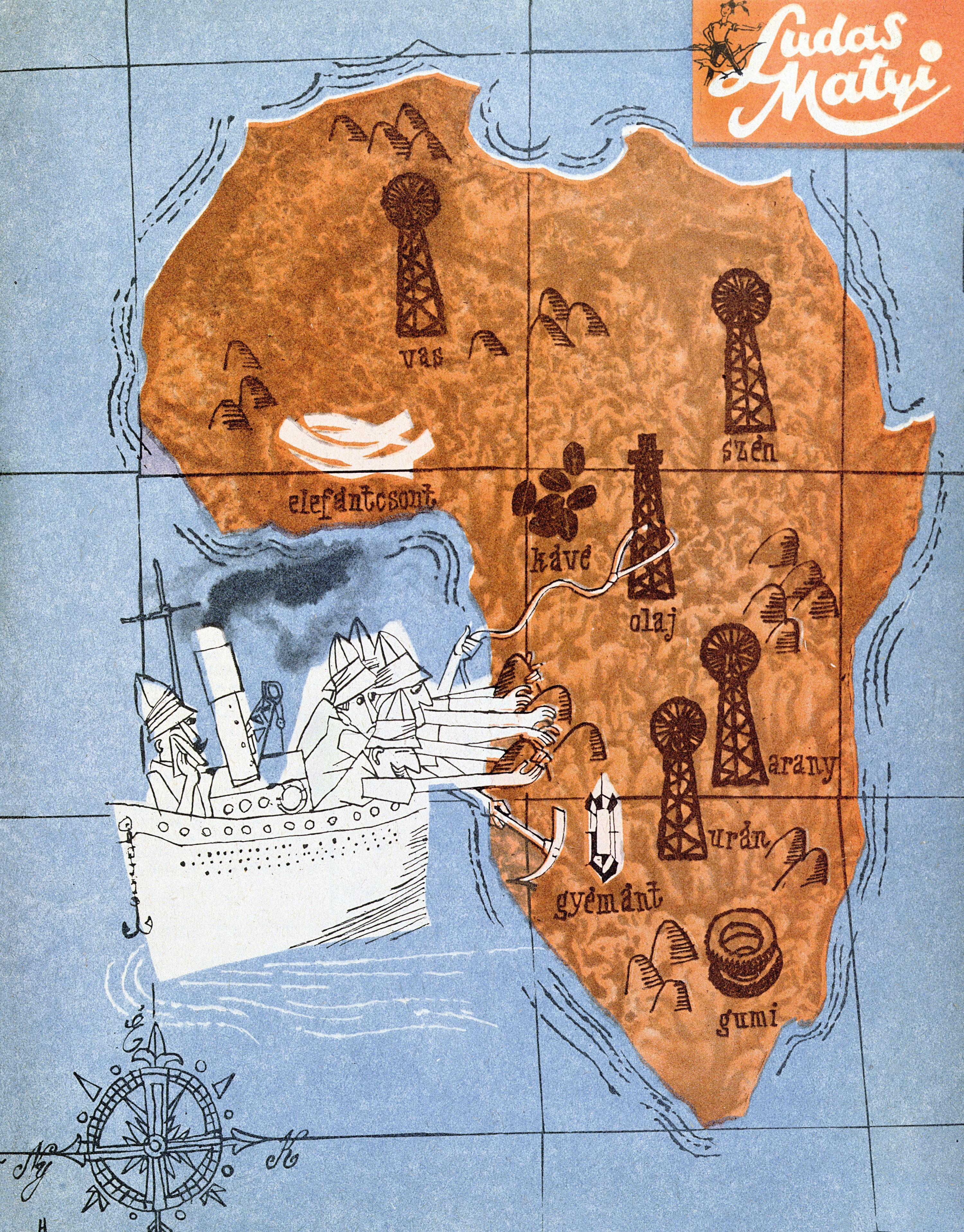 « C'est difficile de dire au revoir », dans Ludas Matyi, 1960, lithographie coloriée, coll. privée.