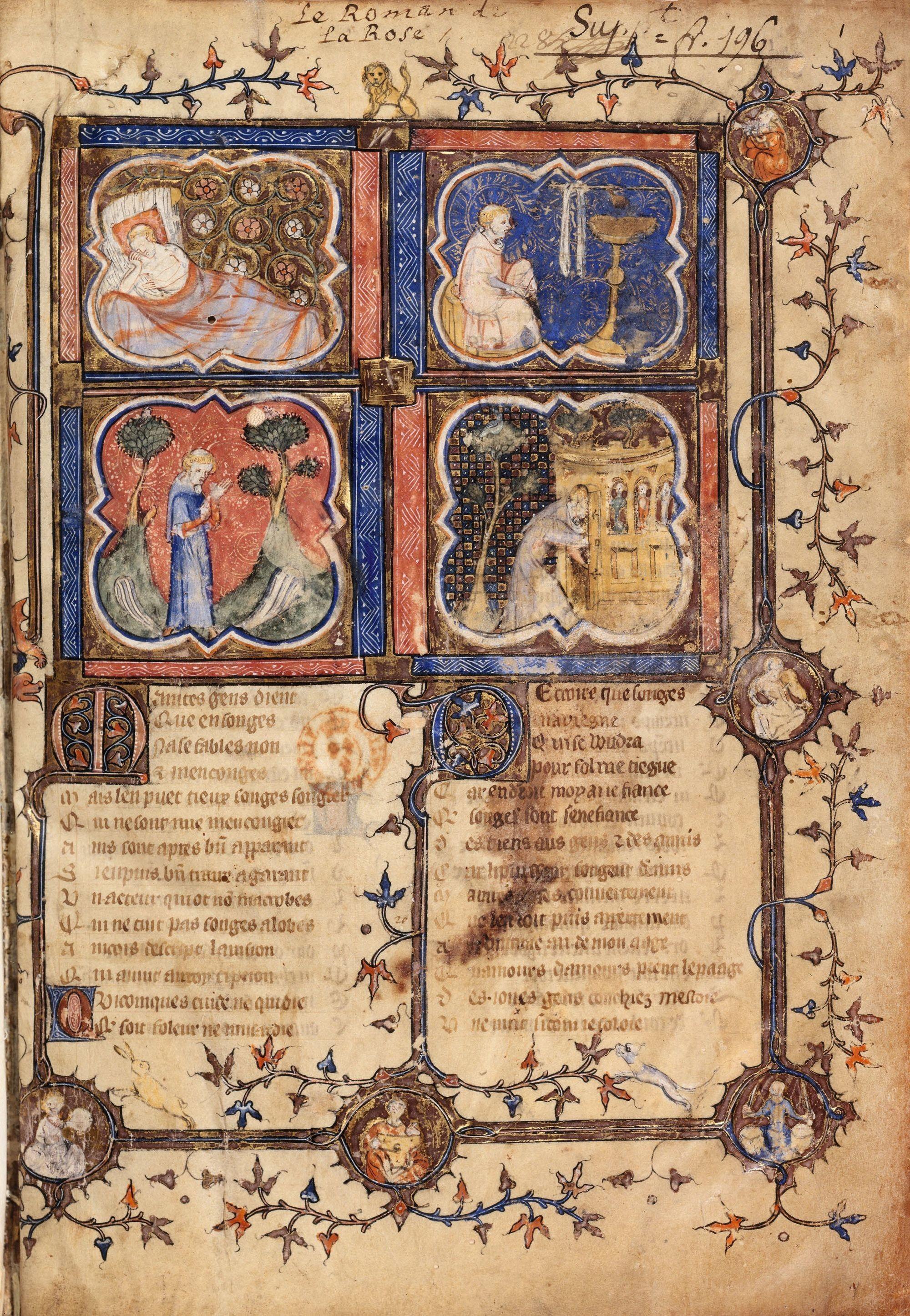 Guillaume de Lorris et Jean de Meung, Le Roman de la Rose, manuscrit du XIVe siècle