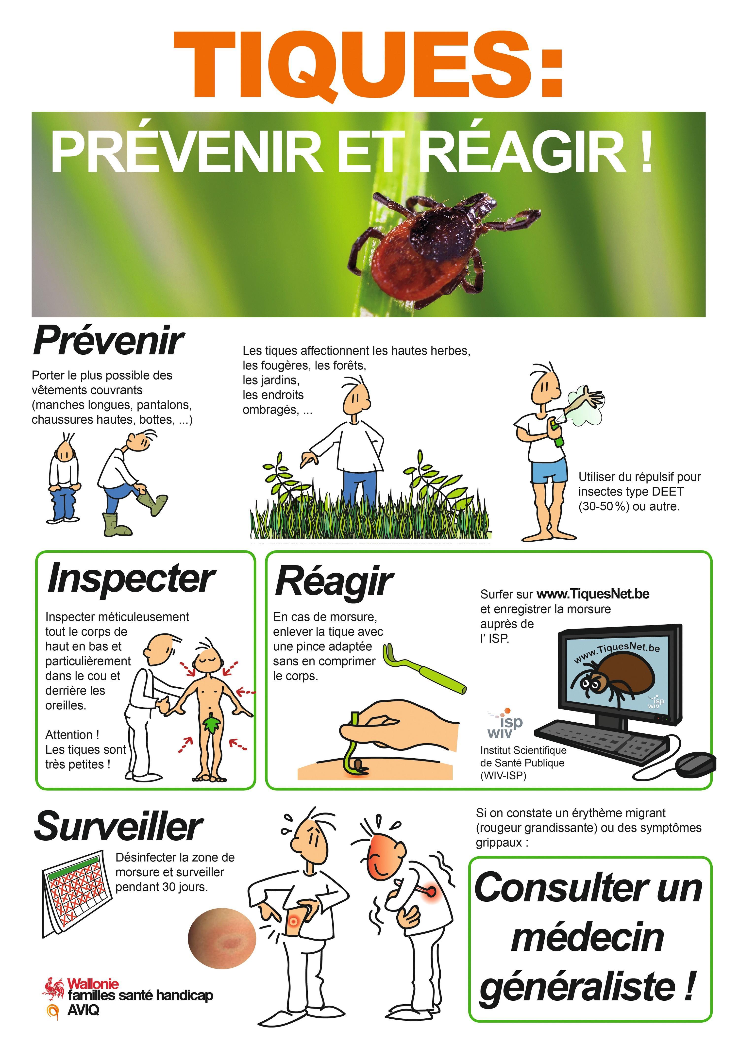 Affiche de prévention de l'Agence pour une vie de qualité (AVIQ, Belgique).